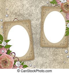 vintage frame with flowers and lace over grunge beige...