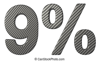 Carbon fiber font 9 numeral and percent isolated on white