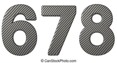 Carbon fiber font 6 7 8 numerals isolated on white