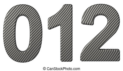 Carbon fiber font 0 1 2 numerals isolated on white