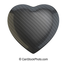 Carbon fiber heart shape isolated over white background