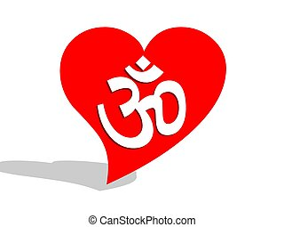 Aum / om in a heart - White aum / om in a big red heart and...