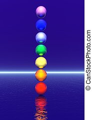 Chakra column - Colored balls for a chakra column in blue...