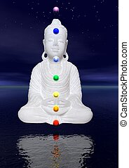 Buddha and chakras - Peaceful white buddha in meditation by...