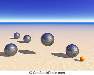 Petanque game balls on the sand - One flying and four other...