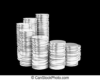 Growth: silver coins stacks spiral shape