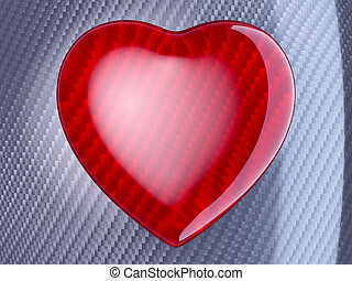 Red heart shape over carbon fibre - Red glossy heart shape...
