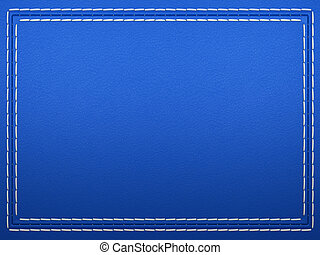 Stitched frame on blue leather background. Large resolution