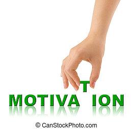 mão, palavra, motivação