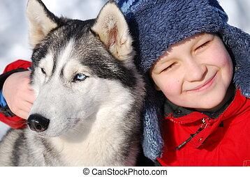 Um, Menino, seu, cão, neve