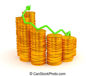 Wealth and growth: green graph over golden coins stacks