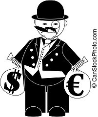 banker - vector illustration cartoon banker with bags of...