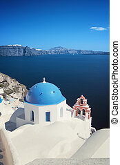 Oia (Ia) village at Santorini. - Orthodox church at Oia (Ia)...