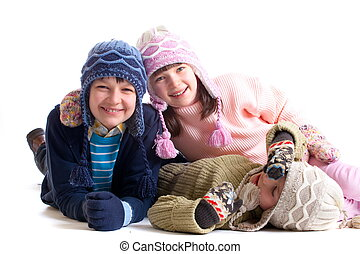 Children in winter clothes - Cute children wearing winter...