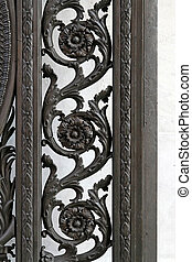 Ironwork - Detailed decoration on iron fence with floral...