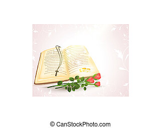 wedding theme with opened Bible, golden rings and roses
