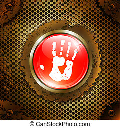 hand print button over metal grid