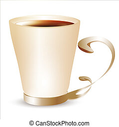 cup with coffee or dark tea over white