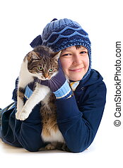boy with cat