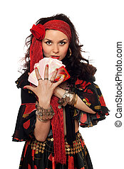 Portrait of gypsy woman with cards Isolated