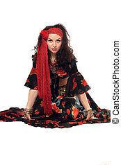 Sitting gypsy woman