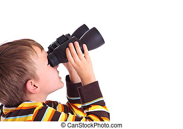 Boy with binoculars - A boy is looking through binoculars...