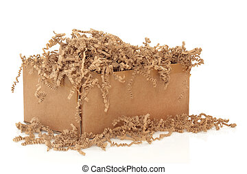 Packaging - Cardboard shipping box with recycled brown paper...