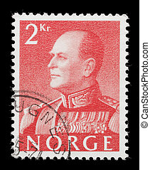 Olav V on a stamp