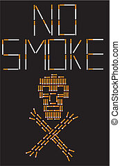 No smoke - Skull, laid out cigarette butts