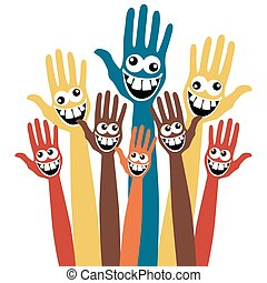 Crazy face hands.  - Large group of hands with crazy faces.