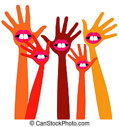 Goofy hands design - Funny mouth and teeth hands design