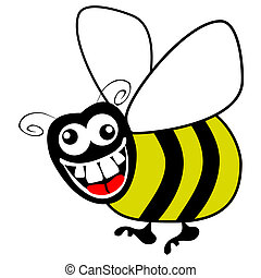 Nutty bumble bee. - Crazy hungry bumble bee vector.