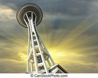 Sunset over Seattle, Washington, U.S.A.