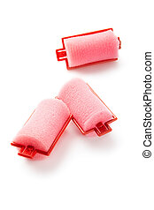 Hair rollers isolated on white