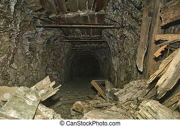 Old mine tunnel - Abandoned old mine in southwest Spain, la...