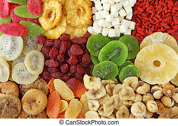 Mix of dried fruits close up