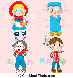 Red Riding Hood - Set of characters from Little Red Riding...