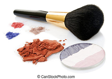 Make-up brush and different powder