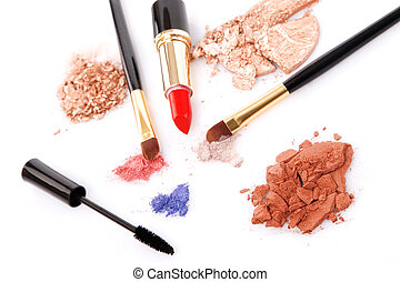 Make-up brush, lipstick and different powder isolated on...