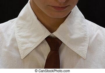 Woman wearing a tie
