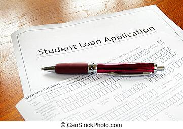 tom, student, lån, ansökan, penna