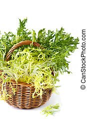 Escarole endive. - Curly escarole endive leaves on a wicker...
