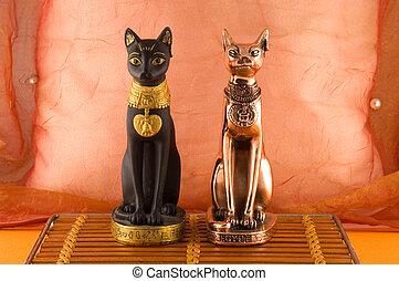 två, egypten, Statyer, katter