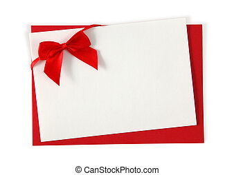 Red paper envelope with white card isolated on white...