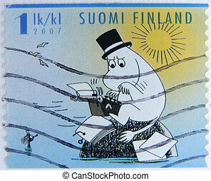 post stamp printed in Finland shows artwork from moomin...