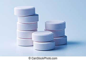 Stack of tablets close up.