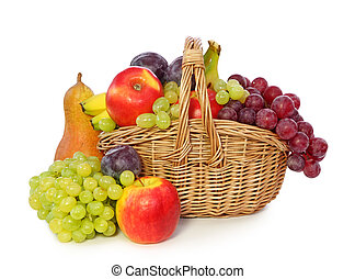 Fruits in basket isolated on white background.