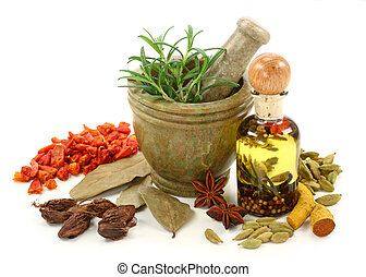 Mortar with fresh rosemary, oil and dried spices isolated on...