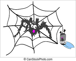spider and fly,spider and prey,Spider on a web. Vector...