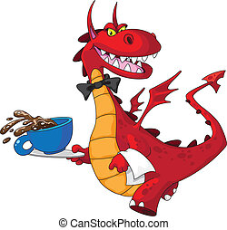 dragon waiter with cup - illustration of a dragon waiter...